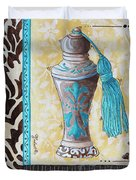 Decorative Bathroom Bath Art Original Perfume Bottle Painting Luxe Perfume By Madart Duvet Cover