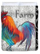 Decorative Rooster Chicken Decorative Art Original Painting King Of The Roost By Megan Duncanson Duvet Cover