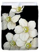 Decorative White Floral Flowers Art Original Chic Painting Madart Studios Duvet Cover