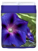 Deep Blue Morning Glories Duvet Cover