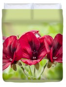 Deep Crimson Pelargonium Duvet Cover