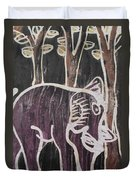 Deep Purple Elephant Painting In The Forest. Duvet Cover