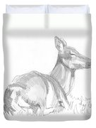 Deer Lying Down Drawing Duvet Cover