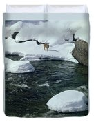 104618-v-deer On The Snow Bank Duvet Cover