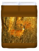 Deer Spotted In A Golden Glowing Field  Duvet Cover