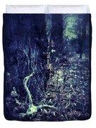 Deer Skull In Forest Duvet Cover