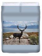 Deer Statute On Antelope Island  Duvet Cover
