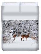 Deers In Winter Duvet Cover