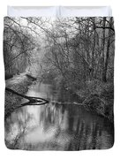 Delaware Canal In Black And White Duvet Cover