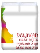Delaware State Map Collection 2 Duvet Cover