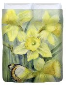 Delias Mysis Union Jack Butterfly On Daffodils Duvet Cover