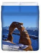 Delicate Arch In Snow Arches National Park Utah Duvet Cover