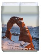 Delicate Arch With Snow Arches National Park Utah Duvet Cover