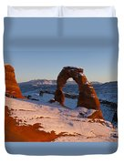 Delicate Arch With Snow At Sunset Arches National Park Utah Duvet Cover