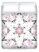 Delicate Cherry Blossom Fractal Kaleidoscope Duvet Cover