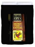 Delicious Chicken Dinners Sign Duvet Cover