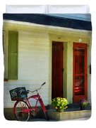 Delivery Bicycle By Two Red Doors Duvet Cover