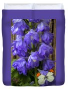 Delphinium And Butterfly Duvet Cover