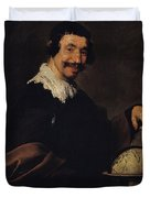 Democritus, Or The Man With A Globe Oil On Canvas Duvet Cover