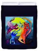 Demon Cats Dance By The Light Of The Moon Duvet Cover by Beverley Harper Tinsley