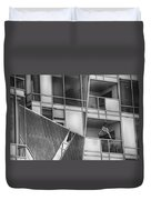 Denver Diagonal Lines Bw Duvet Cover