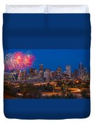 Denver Skyline Fireworks Duvet Cover