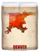 Denver Watercolor Map Duvet Cover by Naxart Studio