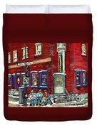Depanneur Centre Pointe St Charles Montreal Verdun Paintings Hockey Art City Scenes Cspandau Duvet Cover