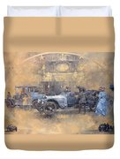 Departure For Christmas Oil On Canvas Duvet Cover