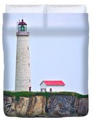 Des-rosiers Lighthouse Is Canada's Tallest In Forillon Np-qc Duvet Cover