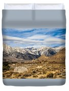 Desert View Of Majestic Mount Whitney Mountain Peaks With Clouds Duvet Cover
