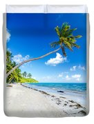Deserted Beach And Palm Trees Duvet Cover