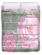 Desiderata On Garden Scene With Pink Roses Duvet Cover