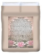 Desiderata On Lotus Watercolor Duvet Cover
