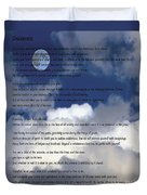 Desiderata On Sky Scene With Full Moon And Clouds Duvet Cover
