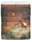 Desiderata On Snow Scene With Cabin Duvet Cover
