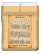 Desiderata Poster On Antique Embossed Wood Paper Duvet Cover