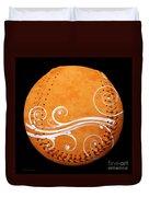 Designer Orange Baseball Square Duvet Cover