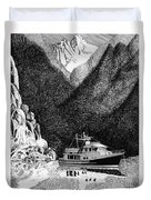 Anchored Safe Chatterbox Falls, British Columbia Inside Passage Duvet Cover