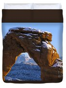 Detail Of Delicate Arch With Snow Arches National Park Utah Duvet Cover