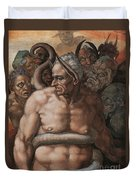 Detail Of The Last Judgment Duvet Cover by Michelangelo