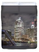 Detroit Fountain And Cityscape Duvet Cover