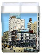 Detroit - Michigan And Griswold Avenues - 1910 Duvet Cover