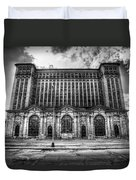 Detroit's Abandoned Michigan Central Train Station Depot In Black And White Duvet Cover