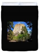 Devil's Tower Through The Trees Duvet Cover