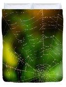 Dew Drops On Spider Web  Duvet Cover