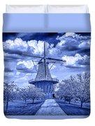 deZwaan Holland Windmill in Delft Blue Duvet Cover