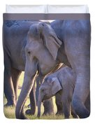 Dhikala Elephants Duvet Cover