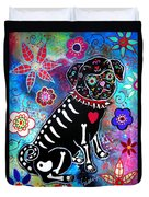 Dia De Los Muertos Pug Duvet Cover by Pristine Cartera Turkus