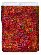 Diagonal Tiles In Reds Duvet Cover